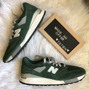 New Balance 998 Green and White Athletic Shoe 13